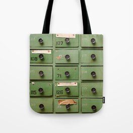 Old wooden cabinet with drawers Tote Bag