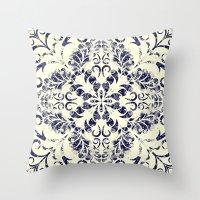 blueprint Throw Pillows featuring Blueprint Flourish by wallcakes