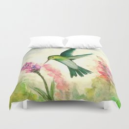 Hummingbird & Lupine watercolor Duvet Cover