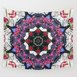 Orchids And Stone Wall Kaleidoscope 1763 Wall Tapestry