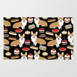Corgi Patisserie Bakery French Parisian food, tarts, eclair, napoleon, cute food design Rug