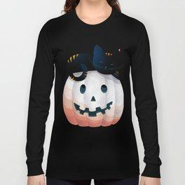 065 - tired kitty on the Halloween pumkpin Long Sleeve T-shirt