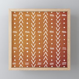 Mudcloth White Geometric Shapes in Ochre Burnt Orange Framed Mini Art Print