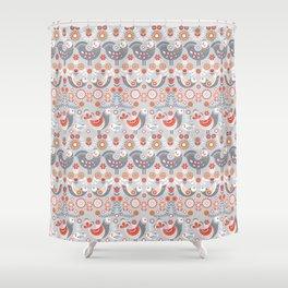 Seamless pattern with flowers. The Scandinavian style. Folk art. Shower Curtain