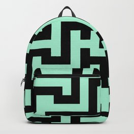 Black and Magic Mint Green Labyrinth Backpack