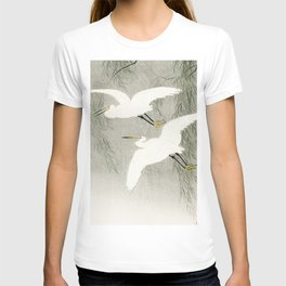 Flying Egrets - Japanese vintage woodblock print T-shirt