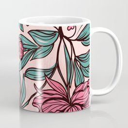 Background of hand drawn flowers and leaves Coffee Mug