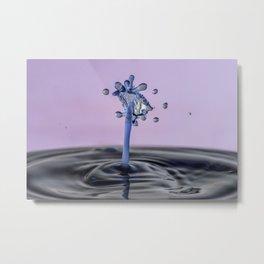 Blue water flower waterdrop Metal Print