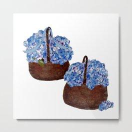 Two Baskets of Hydrangea Love Metal Print