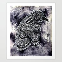 raven Art Prints featuring Raven by BIOWORKZ