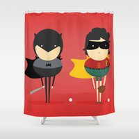 super heroes Shower Curtains featuring Heroes & super friends! by Juliana Rojas | Puchu