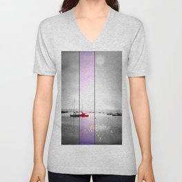 Boats: (Split Screen). Unisex V-Neck