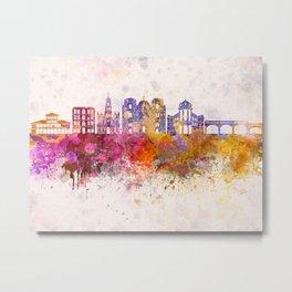 Cuenca EC skyline in watercolor background Metal Print
