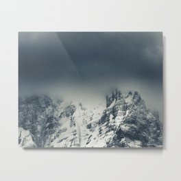 Darkness and clouds covering mountain Metal Print