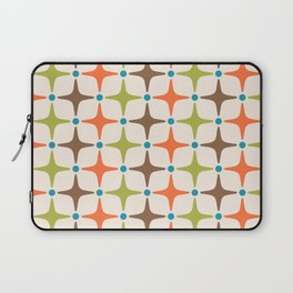 Mid Century Modern Star Pattern 814 Brown Orange Turquoise Chartreuse Laptop Sleeve