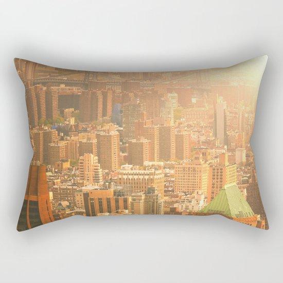 New York City Skyline Rooftops Rectangular Pillow