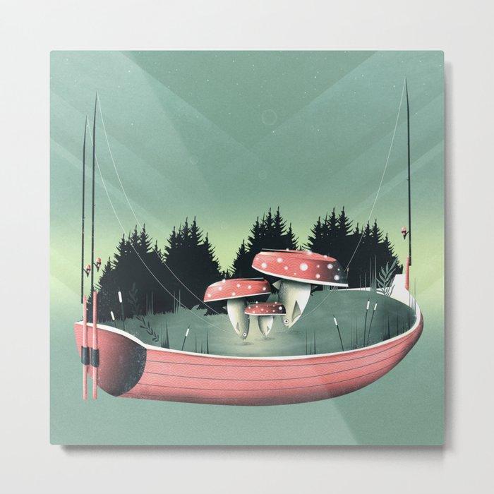 Fishing for Mushrooms Metal Print