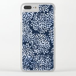 Abstract Navy Watercolor Line Flowers Clear iPhone Case