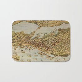 Vintage Pictorial Map of Vancouver BC (1898) Bath Mat