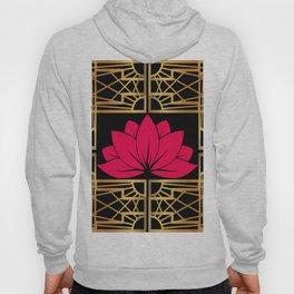 Art Deco Retro Lotus (amaranth-black) Hoody