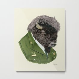 Bison art print by Ryan Berkley Metal Print