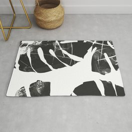 Monstera Leaf Black Rug