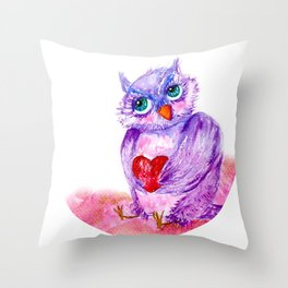 The little owl Cosette is in love Throw Pillow
