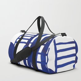 Blue grid -abstract minimalist ink painting Duffle Bag