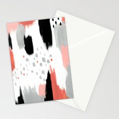 Coral Abstract Painting Stationery Cards