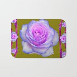 PINK-BLUE TINGED ROSES ON KHAKI COLOR Bath Mat