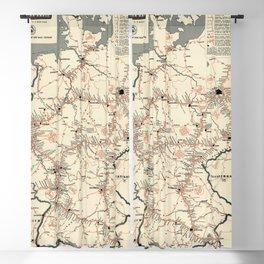 ADAC Autobahn-Karte. 1950 Vintage Map of Autobahn in Germany. Blackout Curtain
