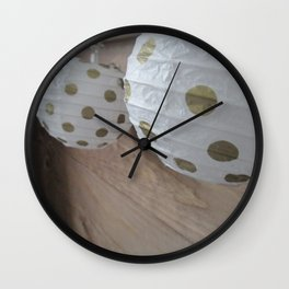 Gold and White Lanterns Wall Clock
