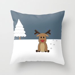 Cute baby reindeer sitting in the snow Throw Pillow