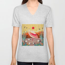 Roseate Spoonbill in the Sunset Unisex V-Neck
