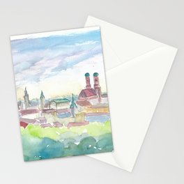 Soft Skyline of Munich Bavaria At Dusk Stationery Cards