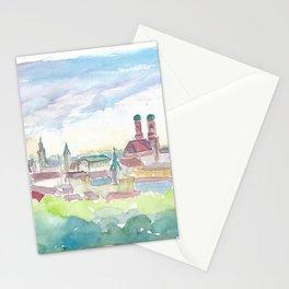 Soft Skyline of Munich Bavaria At Dusk Stationery Cards