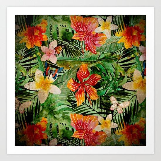 Tropical Vintage Exotic Jungle Flower Flowers - Floral watercolor pattern Art Print