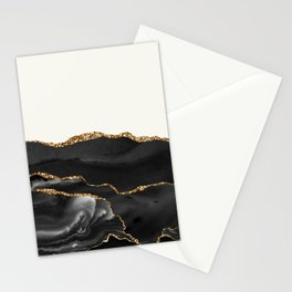 Eternity Black Agate with Gold on Cream Stationery Cards