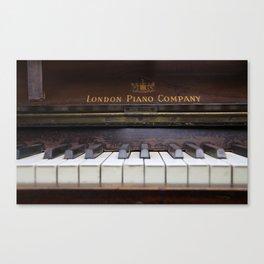 Piano keys Old antique vintage music instrument Canvas Print