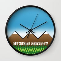 hiking Wall Clocks featuring Hiking Society by klausbalzano