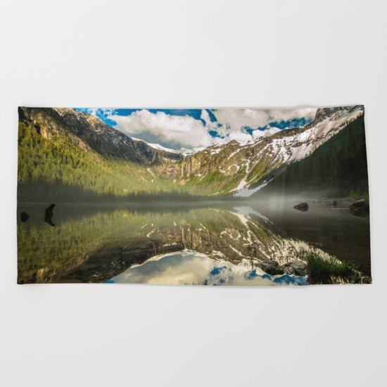 Mountains Reflection Beach Towel