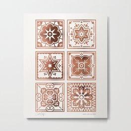 Talavera Mexican Tile – Rose Gold Palette Metal Print