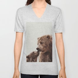 Woodlands Nursery Decor, Bear Mother Print, Baby Bear Print Unisex V-Neck