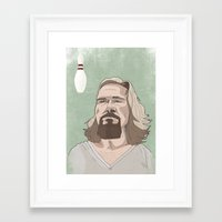 lebowski Framed Art Prints featuring Lebowski by Hero of Switzwerland / Dan Button //