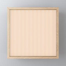 Bright Orange Russet Mattress Ticking Narrow Striped Pattern - Fall Fashion 2018 Framed Mini Art Print