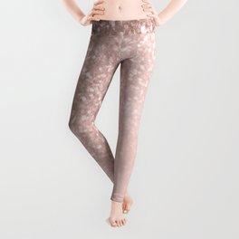Rose Gold Sparkles on Pretty Blush Pink II Leggings