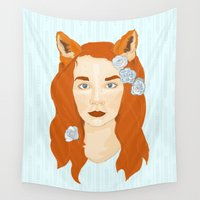 sister Wall Tapestries featuring Sister Fox by Aslan