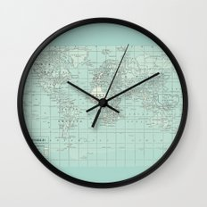 Vintage World Map in Soft Teal Wall Clock