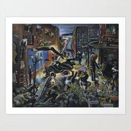 American Masterpiece 'Automobile Accident' by Howard Taft Lorenz Art Print