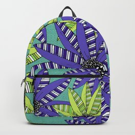 Blue and Green Striped Sketch Flowers Illustrated Pattern Backpack